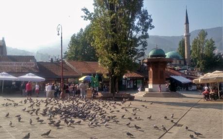 Jalan Baščaršija dan Sebilj Fountain. Ciri khasnya selalu ramai burung-burung.