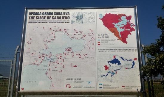 Peta pengepungan Sarajevo semasa Perang Bosnia. Warna biru muda adalah daerah kekuasaan Bosnia, warna merah adalah tentara Serbia. Petugas PBB menguasai wilayah bandara untuk menghindari pengepungan total Sarajevo.